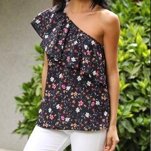 Black Floral Asymmetrical Top